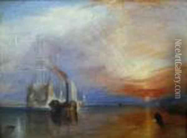 The Fighting Temeraire Tugged To Her Last Berth To Be Broken Up Oil Painting - Joseph Mallord William Turner