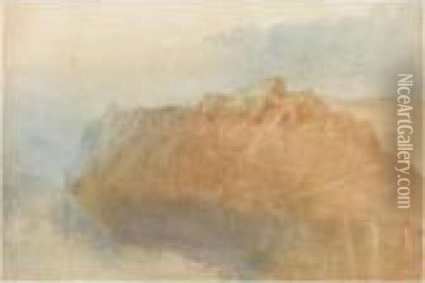 The Fortress Of Ehrenbreitstein  From Across The Rhine, Recto; A Sketch Of A Mill At Winnigen On The  Mosel, Verso Oil Painting - Joseph Mallord William Turner