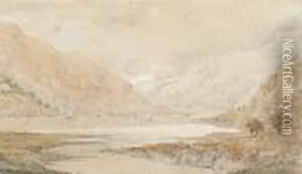 A View Of Bassenthwaite Lake In The Shire County Cumbria Oil Painting - Joseph Mallord William Turner