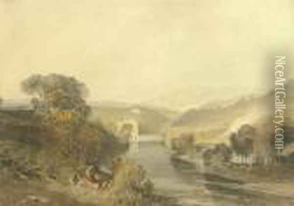 Addingham Mill On The River Wharfe, Yorkshire Oil Painting - Joseph Mallord William Turner