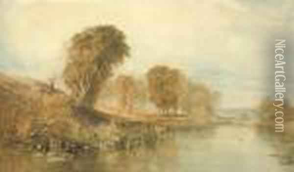 View On The River Brent, North London Oil Painting - Joseph Mallord William Turner