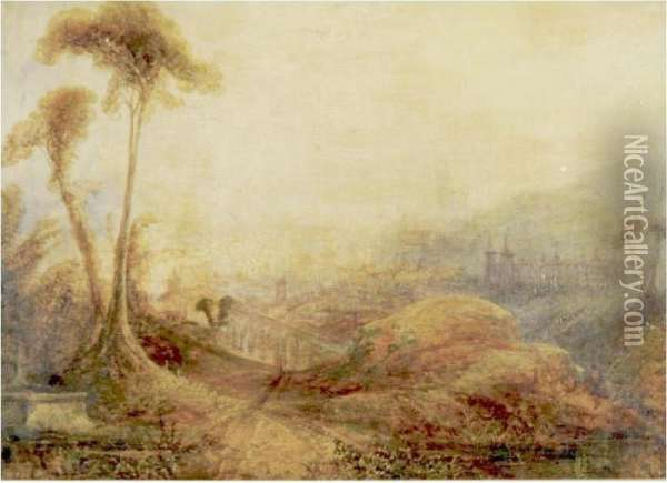 Landscape With Castles And Aquaeducts Oil Painting - Joseph Mallord William Turner