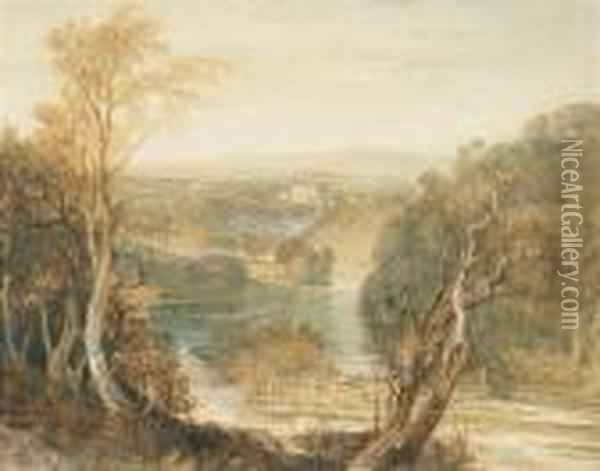 Distant View Of Barden Tower On The River Wharfe, West Riding, Yorkshire Oil Painting - Joseph Mallord William Turner