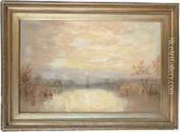 Chichester Canal With The Cathedral Beyond Oil Painting - Joseph Mallord William Turner