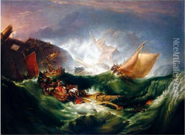 The Wreck Of A Transport Ship Oil Painting - Joseph Mallord William Turner