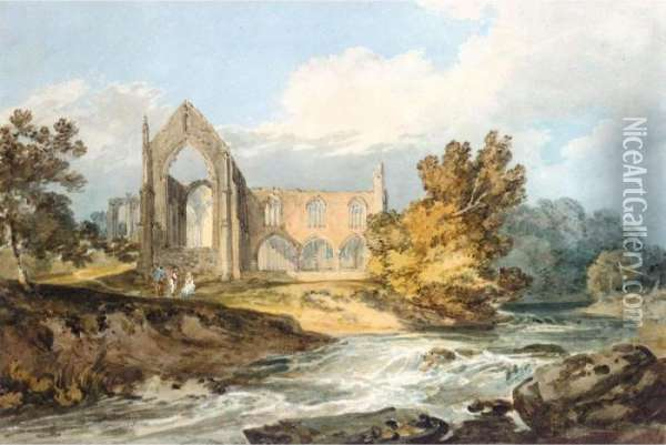 Bolton Abbey, Yorkshire On The Wharfe Oil Painting - Joseph Mallord William Turner