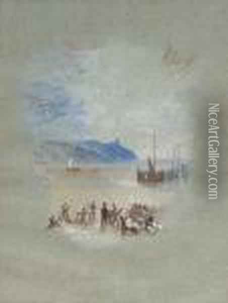 Hasborough Sands: Fisherfolk On  The Sands In The Foreground, With Stranded Fishing Boats Beyond; The Sun  Setting Behind A Promontory Oil Painting - Joseph Mallord William Turner