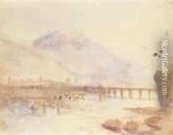 View Of A Town In An Alpine Landscape With A Bridge Across Alake Oil Painting - Joseph Mallord William Turner
