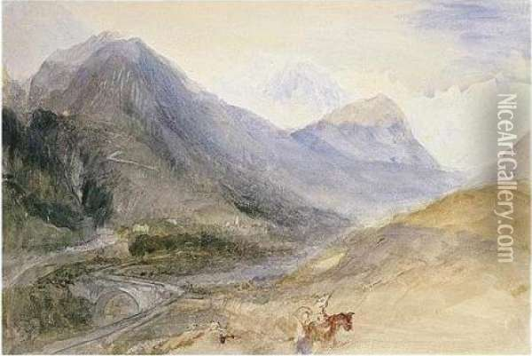 Mont Blanc From Below Pre St Didier In The Val D'aosta Oil Painting - Joseph Mallord William Turner
