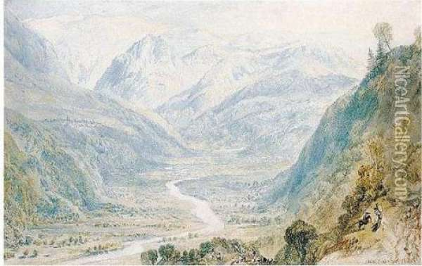 Valley Of The Nar From The Cascade Of Terni, Italy Oil Painting - Joseph Mallord William Turner