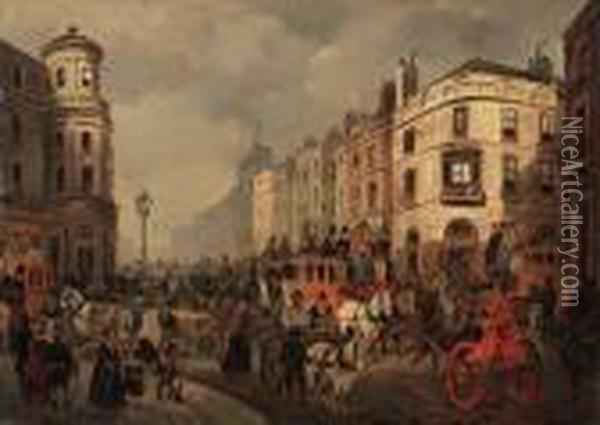 The Strand From The Corner Of Duncannon Street Oil Painting - Joseph Mallord William Turner