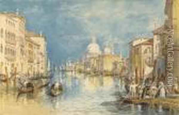 The Grand Canal, Venice, With Gondolas And Figures In Theforeground Oil Painting - Joseph Mallord William Turner