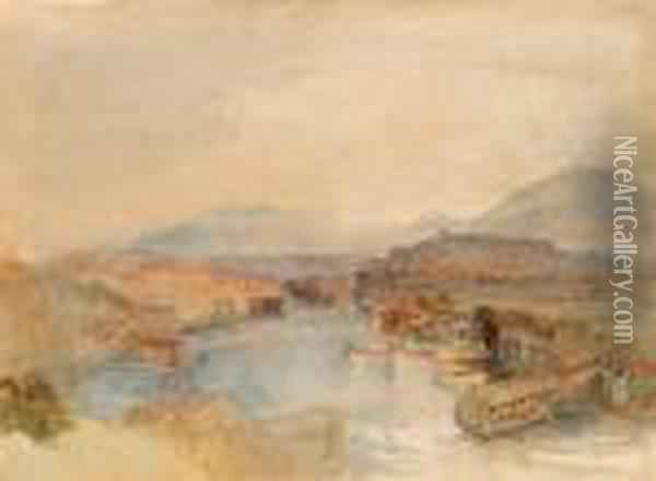 Geneva From The West, From The Junction Of The Arve And Therhone Oil Painting - Joseph Mallord William Turner