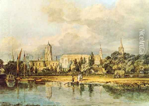 South View Of Christ Church Etc From The Meadows Oil Painting - Joseph Mallord William Turner