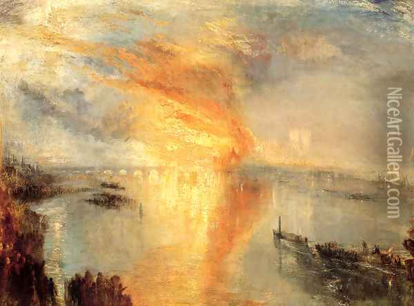The Burning of the Houses of Parliament (2) 1834 Oil Painting - Joseph Mallord William Turner
