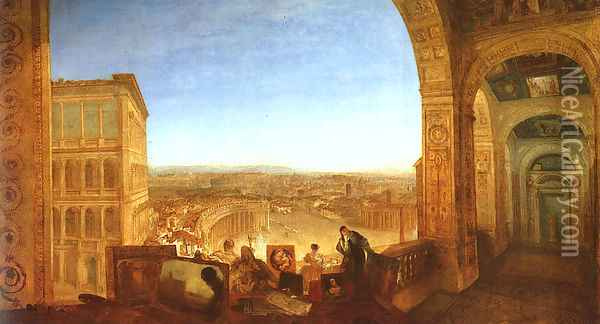 Rome from the Vatican (or Raffaelle accompanied by La Fornarina, preparing his pictures for the decoration of the Loggia) Oil Painting - Joseph Mallord William Turner