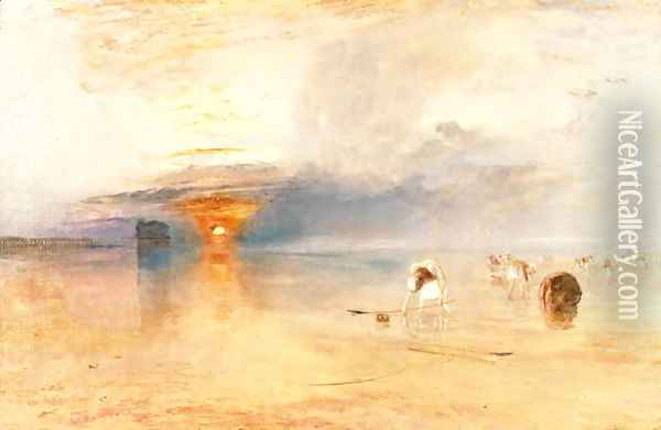 Calais Sands at Low Water, Poissards Gathering Bait, 1830 Oil Painting - Joseph Mallord William Turner