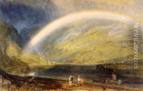 Rainbow (or A View on the Rhine from Dunkholder Vineyard, of Osterspey and Feltzen below Bosnart) Oil Painting - Joseph Mallord William Turner