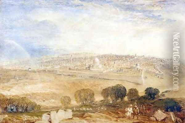 Jerusalem from the Mount of Olives, c.1835 Oil Painting - Joseph Mallord William Turner