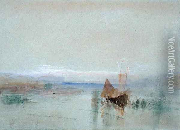 Fishing Boats Becalmed off Le Havre Oil Painting - Joseph Mallord William Turner