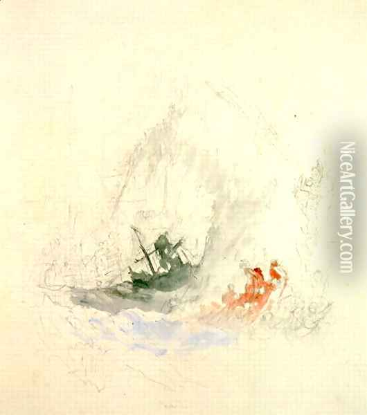 Fire at Sea, a design for a vignette, 1835 Oil Painting - Joseph Mallord William Turner