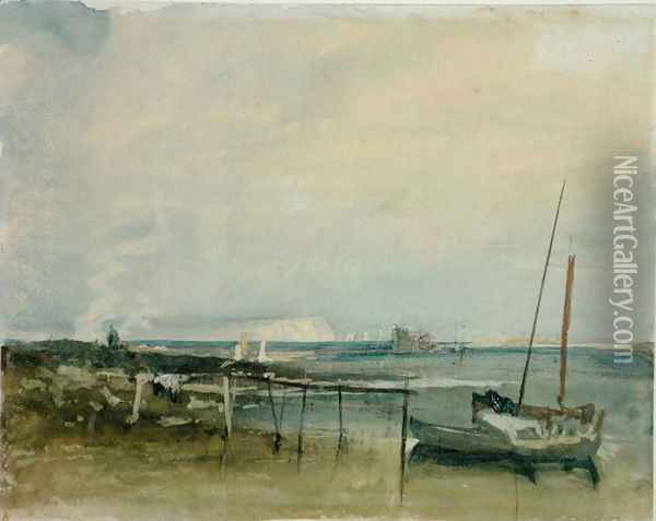 Coast Scene with White Cliffs and Boats on Shore Oil Painting - Joseph Mallord William Turner