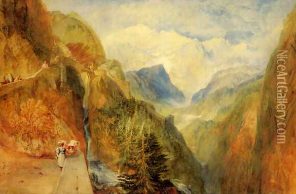 Mont Blanc from Fort Roch, Val D'Aosta Oil Painting - Joseph Mallord William Turner