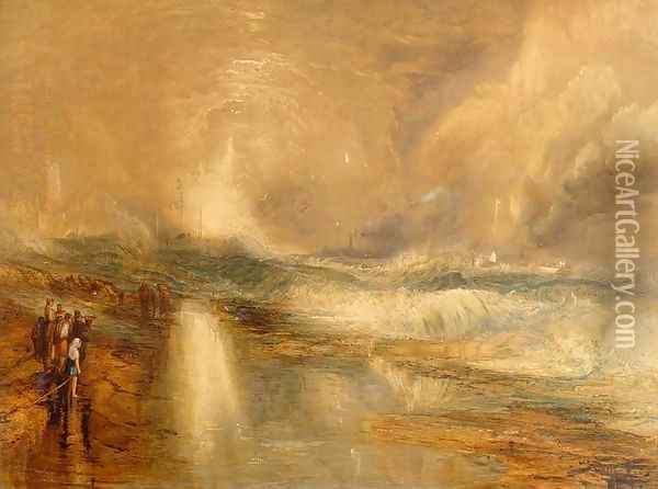 Rockets and Blue Lights, 1855 Oil Painting - Joseph Mallord William Turner