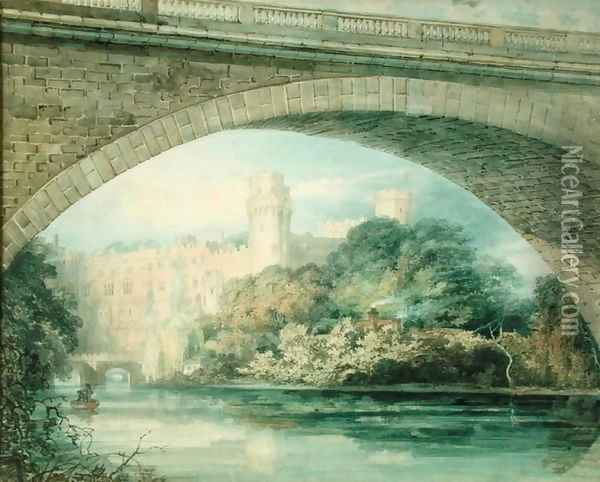 Warwick Castle and Bridge Oil Painting - Joseph Mallord William Turner