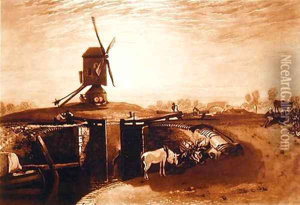 Windmill and Lock, engraved by William Say 1768-1834 Oil Painting - Joseph Mallord William Turner