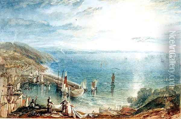 No.1790 Torbay from Brixham, c.1816-17 Oil Painting - Joseph Mallord William Turner