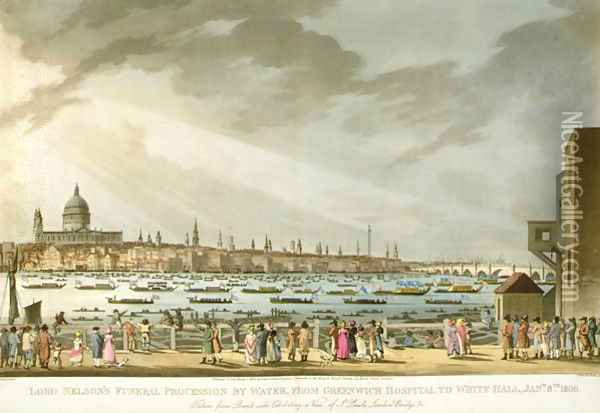 Lord Nelsons funeral procession by water from Greenwich to Whitehall from The History and Graphic Life of Nelson, engraved by J. Clark and H. Marke, pub. by Orme, 1806 Oil Painting - Joseph Mallord William Turner