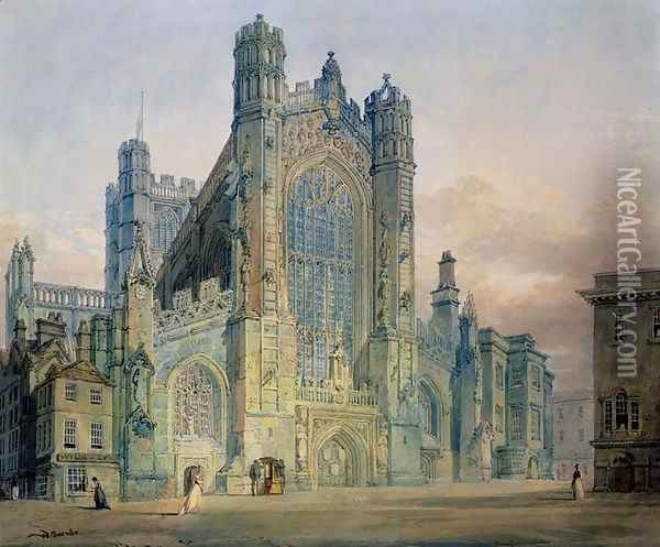 The West Front of Bath Abbey Oil Painting - Joseph Mallord William Turner