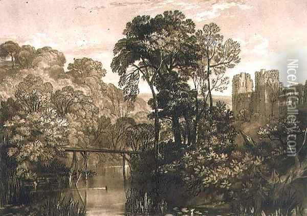 Berry Pomeroy Castle, from the Liber Studiorum, engraved by the artist, 1816 Oil Painting - Joseph Mallord William Turner