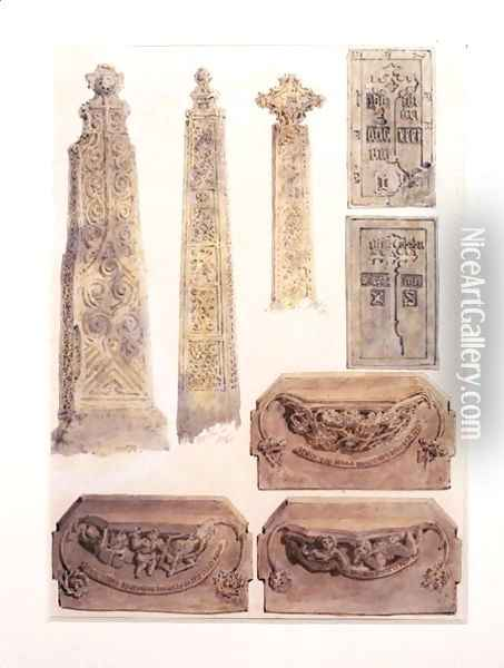 Eight Studies of crosses, brasses and misericords from Whalley Church, Whalley, Lancashire Oil Painting - Joseph Mallord William Turner