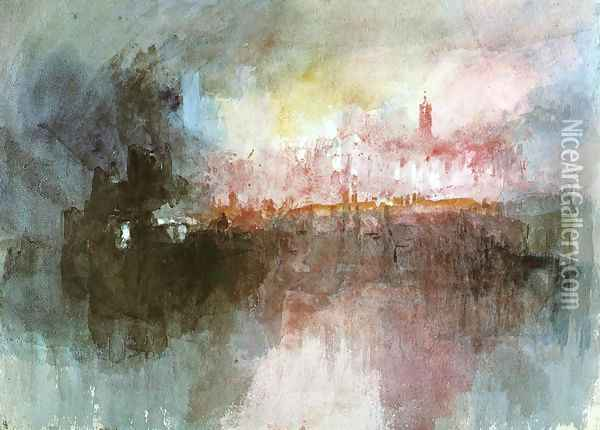 The Burning of the Houses of Parliament Oil Painting - Joseph Mallord William Turner