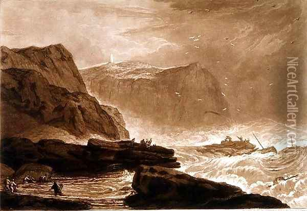 Coast of Yorkshire, from the Liber Studiorum, engraved by William Say, 1811 Oil Painting - Joseph Mallord William Turner