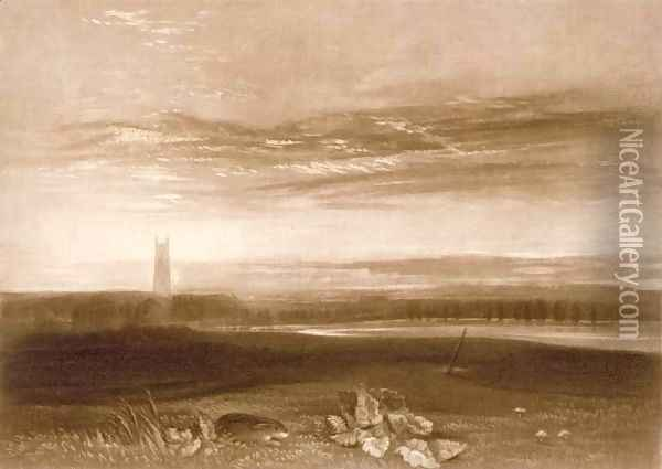 Gloucester Cathedral, from the Little Liber, engraved by the artist, c.1826 Oil Painting - Joseph Mallord William Turner