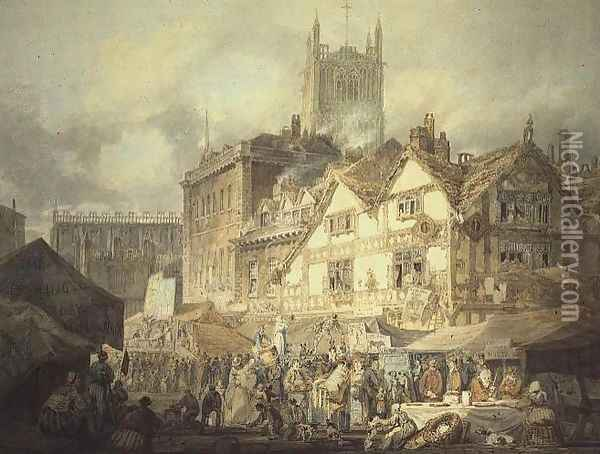 High Green, Queen Square, Wolverhampton, 1795 Oil Painting - Joseph Mallord William Turner