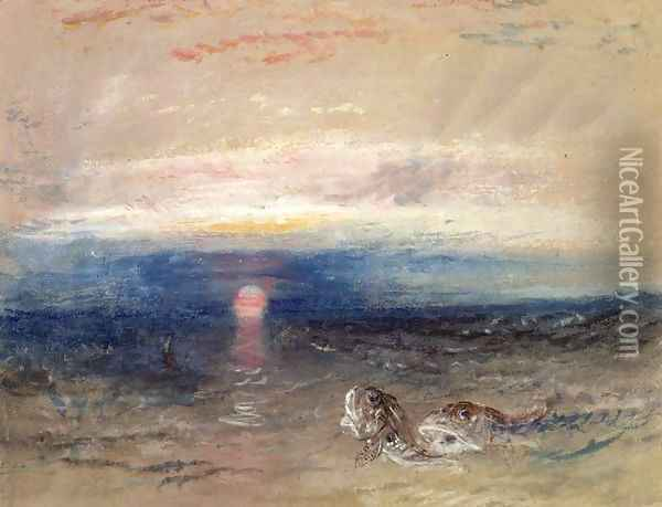 Sunset at Sea with Gurnets Oil Painting - Joseph Mallord William Turner