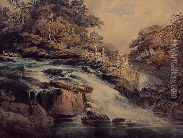 Cascade at Hampton Court, 1795 Oil Painting - Joseph Mallord William Turner