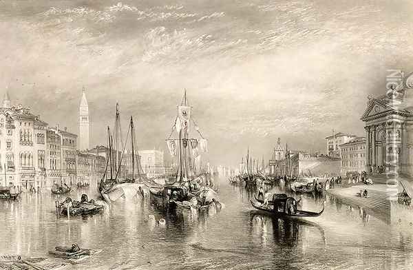 The Grand Canal, Venice, engraved by William Miller 1796-1882 1838-52 Oil Painting - Joseph Mallord William Turner