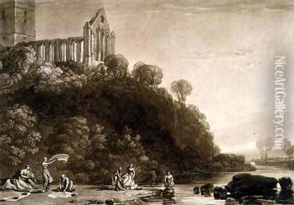 Dumblain Abbey, from the Liber Studiorum, engraved by Thomas Lupton, 1816 Oil Painting - Joseph Mallord William Turner