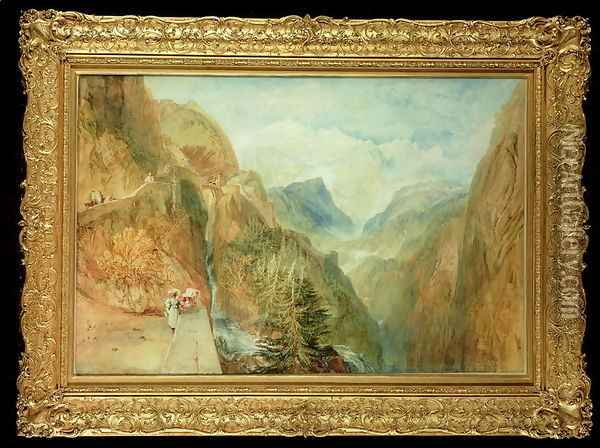 Mont Blanc from Fort Rock in Val DAosta, c.1810 Oil Painting - Joseph Mallord William Turner