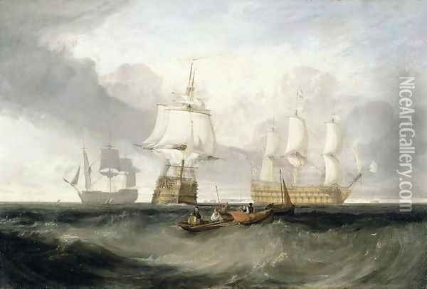 The Victory Returning from Trafalgar, 1806 Oil Painting - Joseph Mallord William Turner
