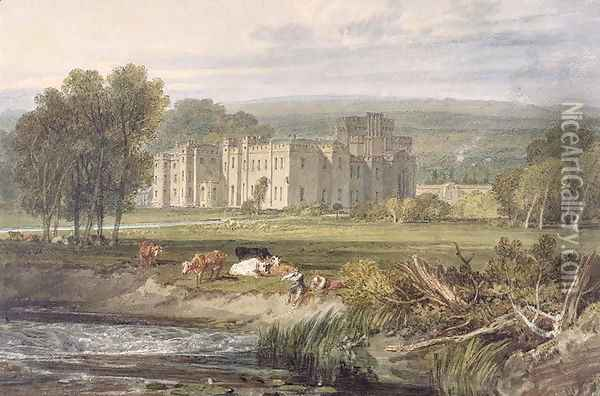 View of Hampton Court, Herefordshire, from the south-east, c.1806 Oil Painting - Joseph Mallord William Turner