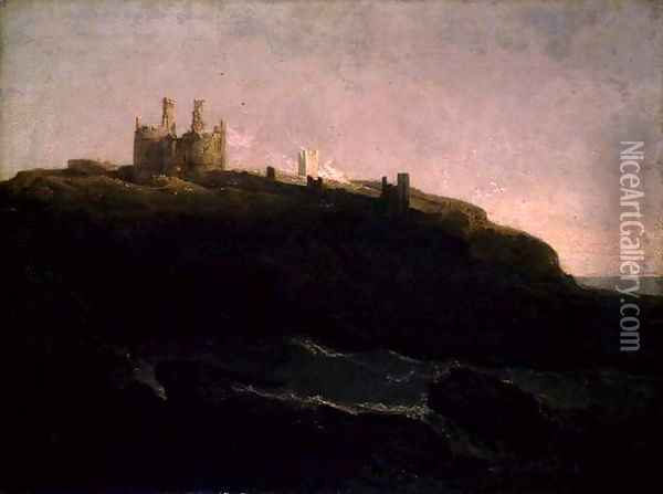 Dunstanborough Castle, Sunrise after a Squally Night, 1798 Oil Painting - Joseph Mallord William Turner