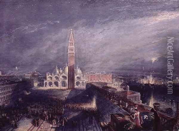 St. Marks Place, Venice Moonlight engraved by George Hollis 1792-1842 pub. 1881 Oil Painting - Joseph Mallord William Turner