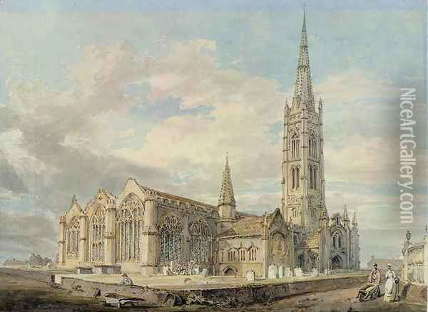 North-east View of Grantham Church, Lincolnshire, c.1797 Oil Painting - Joseph Mallord William Turner
