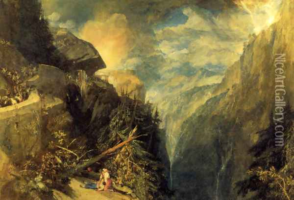The Battle of Fort Rock, Val d'Aoste, Piedmont Oil Painting - Joseph Mallord William Turner
